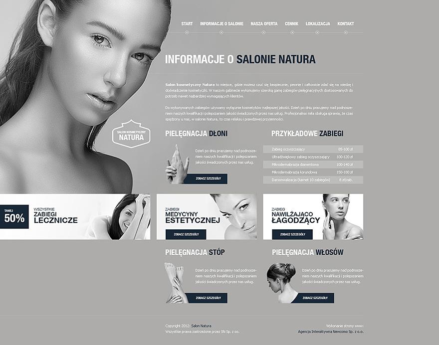 Projekt graficzny strony www salonu kosmetycznego Natua