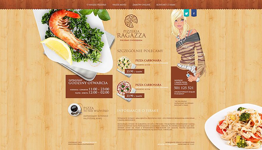 Projekt graficzny strony www Pizzeri Ragazza