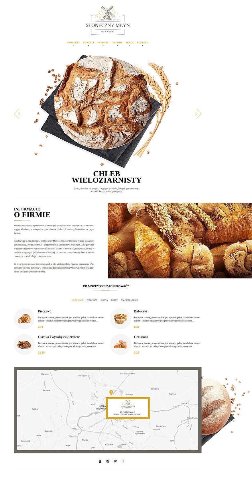 Projekt graficzny strony www piekarni Słoneczny Młyn
